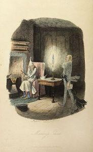 """Cuento de Navidad de Charles Dikens  El protagonista es el señor Ebenezer Scrooge, un hombre avaro y tacaño que no celebra la fiesta de Navidad a causa de su solitaria vida y su adicción al trabajo. No le importan los demás, ni siquiera su empleado Bob Cratchit, lo único que le importan son los negocios y ganar dinero. Cuando van a pedirle dinero para los pobres, Scrooge dice """"¿No hay prisiones? ¿No hay asilos?"""" y dice que, si la gente muere, se detendrá la sobrepoblación, echando a la gente del sitio."""